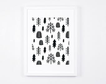 Printable Women Gift, Black and White Nursery Wall Art, Minimalist Art Print Download, Scandinavian Nursery Decor, Nordic Art, Monochrome