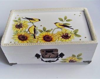 Jewelry box with trays, sunflower design, fabric decoupage, bathroom storage, dresser decor, metal feet, handle