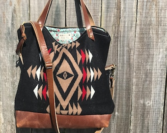 Tuamlo Tote in Pendleton® wool and leather by Meant Mfg.