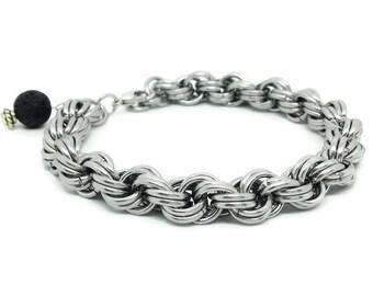 Spiral Bracelet - Steel Bracelet - Essential Oil Bracelet - Chainmail Bracelet - Everyday Bracelet - Silver Bracelet - Stainless Bracelet