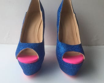 Womens Royal Glitter Blue Holiday Homecoming Prom Open Toed Pumps with Hot Pink Bottoms US Size 7.5