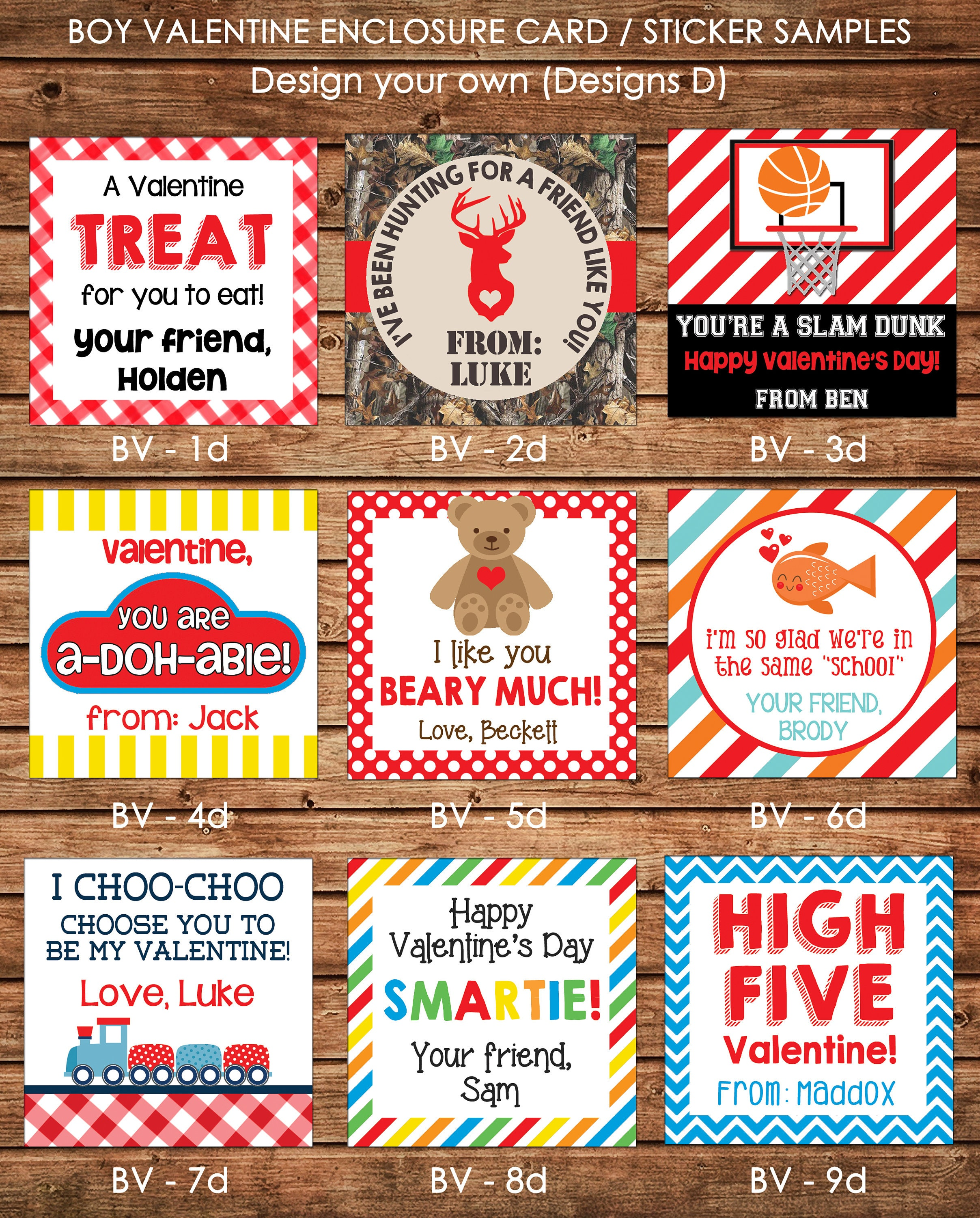 24 printed boy valentine square gift tags enclosure cards stickers