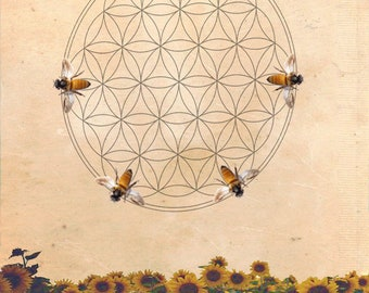 Nectar of Life - Flower of Life Bee Digital Download