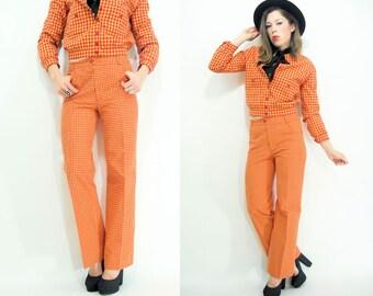 Vintage 70's ANNE KLEIN 2 Piece Matching Set Gingham Suit / Hip Hugger Bell Bottoms + Jacket Matching Set