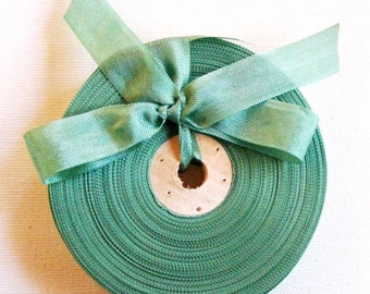 Vintage 1930's-40's French Woven Ribbon -Milliners Stock- 5/8 inch Grass Green