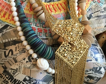 Eclectic Vintage Necklace Set Retro Hillcraft Geometric Fashion Jewelry