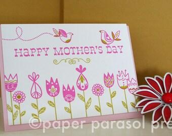 Happy Mother's Day Little Birds Letterpress Card
