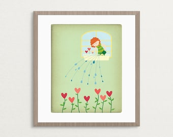 Girl Watering Flowers - Customizable 8x10 Archival Art Print