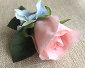 Pale pink and blue silk w...