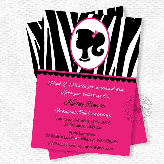 Pink Zebra Print Girls 1st Birthday Invitation: Items Similar To Glamour Girl Birthday Invitations, Girl
