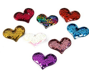 2 PC Color Changing Sequin Hearts Appliques 65mm x40mm - DIY craft Supplies Puffy Shiny Sparkles CC040118
