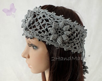 Grey Irish Lace 3D Crochet Headband Dreadlock Head wrap Boho Wooden Beaded Women Wedding Bridal Cotton Hair Snood