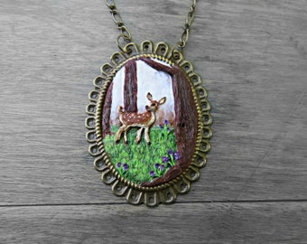 Deer Necklace, Enchanted Necklace, Fairytale Wedding, Enchanted Forest, Forest Necklace, Tree Necklace, Woodland Necklace, Miniature Deer