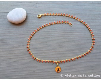 Zen minimalist necklace on brass chain red glass beads