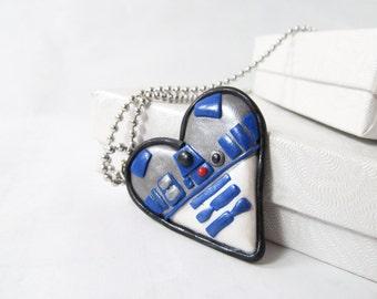 Star wars R2D2 heart Necklace, Star Wars geek Jewelry r2d2 star wars gift