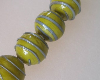 SALE - SPIRALS - Olive with Copper Green - 6 Handmade Lampwork Glass Beads - Inv126-G1