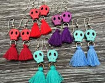 Earrings organic model skull