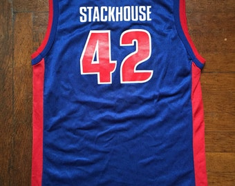 vintage jerry stackhouse pistons champion jersey youth size large