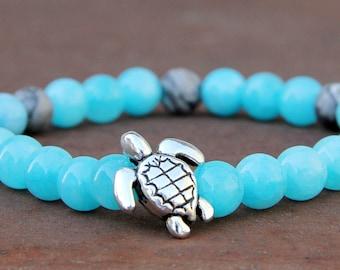 turtle Jewelry beach jewelry ocean jewelry beach bracelet aquamarine Jewelry aquamarine Bracelet stone Jewelry sea Jewelry turtle bracelet