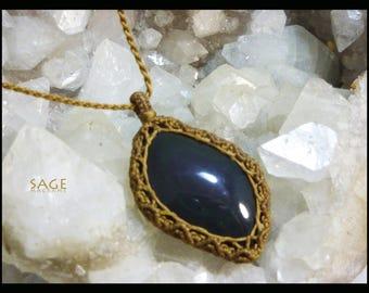 Rainbow Obsidian macrame necklace / pendant