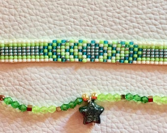woven bracelet duo set made with woven beads and Crystal beads