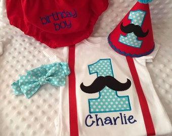 Boys Cake Smash Outfit - Mixed Patterns Mustache - Diaper Cover, Tie, Birthday Hat & Personalized Suspenders Shirt- Birthday Set