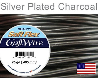 26ga Charcoal Silver Plated Wire, Soft Flex, Round, Non-Tarnish, Supplies, Findings, Craft Wire