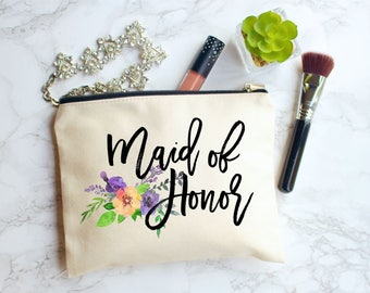Maid of Honor Makeup Bag, Maid of Honor Gift, Maid of Honor, Bridesmaid, Wedding Makeup Bag, Makeup Pouch, Personalized Gift, Cosmetic Bag