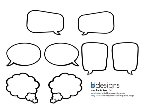 Blank speech bubbles 8 5 x 11 instant download for Photo booth speech bubble template