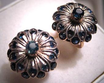 Antique Sapphire Earrings 18K Gold Vintage Art Deco