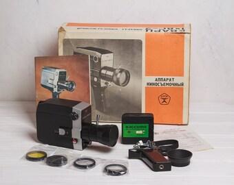 Retro video camera Vintage movie camera Zenit Quarz 1x8S 2 with accessories Genuine Old Vintage Soviet Movie Vintage Soviet Film Camera