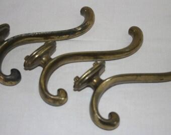 Architectural Salvage Brass Hook Heavy Hooks Curvy Brass Vintage Hook