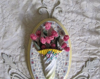Floral/ Flower, Mosaic China Vase Wall Plaque