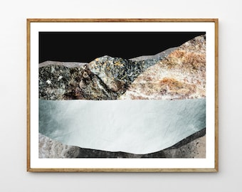 Landscape Wall art, Mountain Print, Surreal Nature Art, Lake Decor, Iceland Art, Ocean Print, Contemporary Poster, Geology // Silver Lake