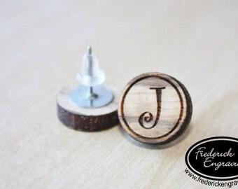 Custom Curly Initial Earrings - Personalized Initial Earrings - Handmade - Wood Curly Initial Earring Studs - EA-8