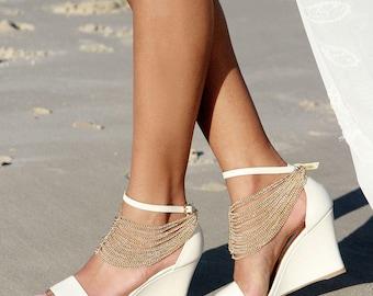 Ladies Ivory Wedges, Ivory Heels, Bridal Wedges, Comfortable Wedding Shoes, Bridal  Shoes, Ivory Wedding Shoes, Low Heel Shoes, Sense Wonder