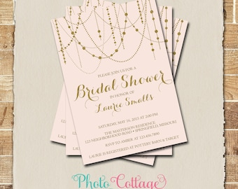 Bridal Shower Invitation, Gold Glitter Invitation, Light Pink Invitations, Bridal Shower, Pink Invitations, Gold & Pink Invitation, BS129
