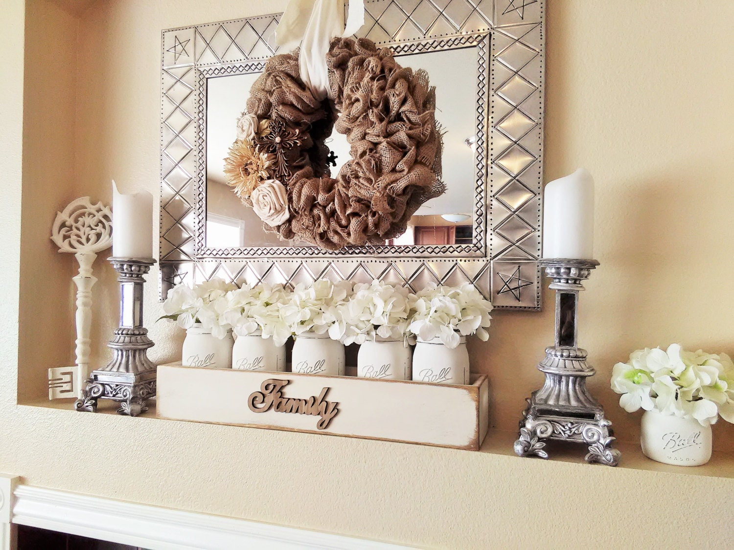 Large Wood Box With Mason Jars Mantle Decor Table
