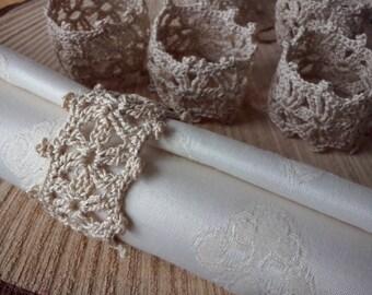 Crochet napkin rings, rustic napkin rings, shabby napkin rings
