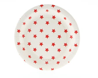 Plates | White with Red Stars Party Plates 7  | Red and White | 12 Pack of Round Paper Plates | Premium Quality Plates | The Party Darling  sc 1 st  Etsy & 48 Ivory Embossed Paper Plates 10 or 7 Square