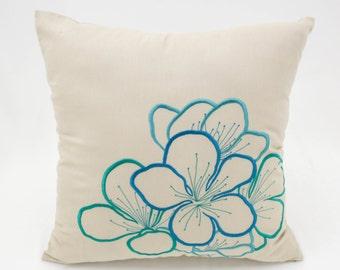 Floral Pillow, Teal Throw Pillow, Embroider Pillow, Beige Linen Pillow, Floral Embroidery, Decorative Pillows, Couch Pillows, Throw Pillows