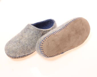 Children's slippers-children's felted organic wool clogs-blue felted slippers leather sole-eco friendly kid's slippers woolen clogs for kids