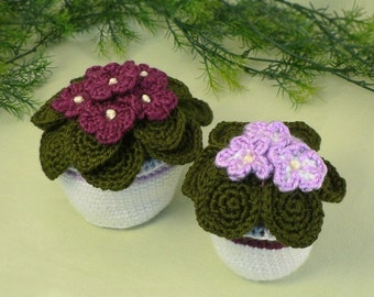 PDF African Violets potted plant CROCHET PATTERN