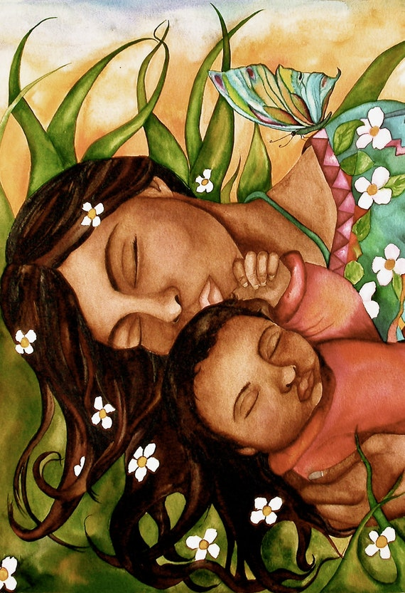 mother and baby with flowers