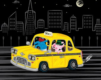 Taxi Ride -  limited edition - animal illustration - wall art - black and yellow - art poster print by Oliver Lake - iOTA iLLUSTRATiON