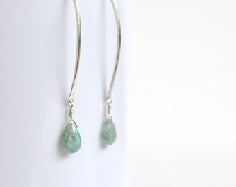 Natural Emerald Earrings- Sterling Silver Earrings- Emerald Green Earrings- Silver Dangle Earrings- Emerald Dangle Earrings- Green Gemstone