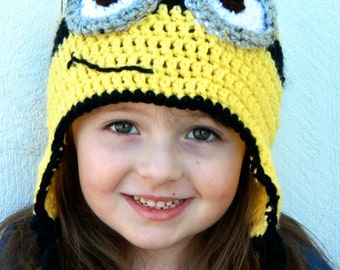 Crocheted Minion Hat - Newborn to Adult - One eye or two eyes