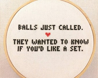 Balls Called Framed Cross-Stitch