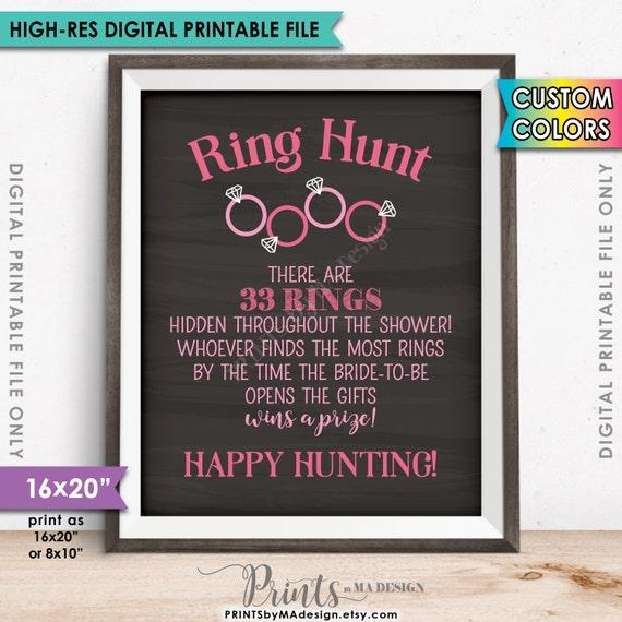 Ring Hunt Bridal Shower Game Sign Ring Scavenger Hunt Game