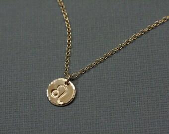 Leo Zodiac Necklace - Gold Filled Hand Stamped Zodiac Jewelry - August Zodiac Sign